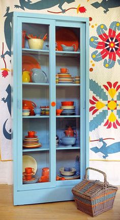 We're switching it up and putting our fiesta ware in the china cabinet. I like the casual display.