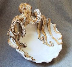 SHAYNE GRECO ceramic OCTOPUS BOWL sculpture clay pottery art vietri style glaze