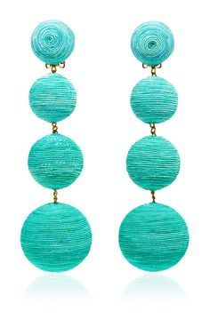Handcrafted in India, these **Rebecca de Ravenel** Les Bonbons earrings feature lightweight silk thread in a vivid hue—the perfect evening accessory. Green Earrings, Diy Earrings, Pierre Turquoise, Turquoise Fashion, Cute Hairstyles For Short Hair, Holiday Jewelry, Handcrafted Jewelry, Jewelry Crafts, Special Occasion