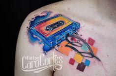 CASSETTE /Caro cortes Colombian tattoo artist. carocortes.tumblr.com  www.carocortes.com/ #cassette #watercolor #acuarela #tattoo #carocortes