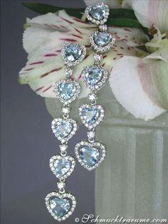 Magnificent: Aquamarine Diamond Heart Earrings, WG18K - Visit: schmucktraeume.com - Like: https://www.facebook.com/pages/Noble-Juwelen/150871984924926