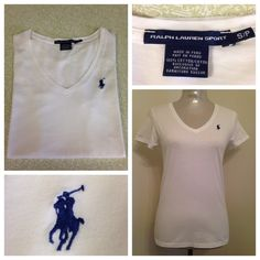 Ralph Lauren Sport V Neck White T-Shirt Size S/P 4 Very nice white t-shirt. Worn once. No spots or condition issues. Shown on my size six mannequin. My estimate is this best fits size 2/4. Arm pit to arm pit measurement is 17 inches from back of neck to hem is 24 inches. Very white in color. Not dingy. Ralph Lauren Sport Tops Tees - Short Sleeve
