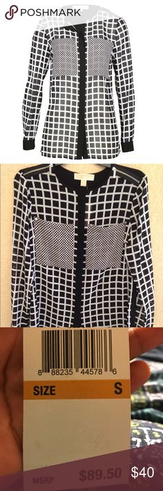 MK black/white blouse Cute black button-down checkered blouse. Zippers on each shoulder. MICHAEL Michael Kors Tops Blouses