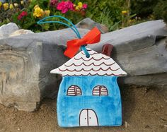 Blue Smurf's ceramic little house by IoannasVeryCHic on Etsy, $15.00