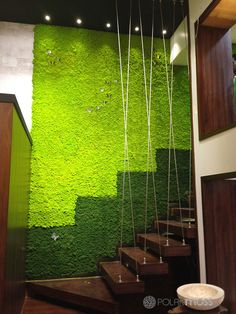 Natural Dried Reindeer Moss By Polarmoss - They take the naturally growing moss and dry it out, then they turn it into a material that is used for interior decor. The moss does not need any maintenance and is flame-retardant. To make it easy to cover an entire wall, they've also designed a flexible material called 'Flex Element', that comes in sheets.