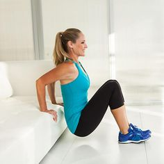 Triceps Dips on the Couch - How Your Couch Can Make At-Home Workout Routines Harder - Shape Magazine