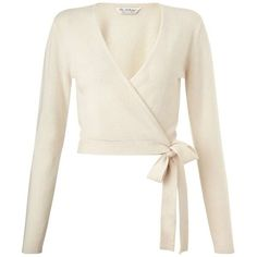 Cream Cashmere Wrap Cardi - Knitwear - Clothing - Miss Selfridge (£25) ❤ liked on Polyvore featuring tops, cardigans, sweaters, outerwear, long sleeves, wrap top, white wrap top, cream cashmere cardigan, long sleeve tops and white cardigan