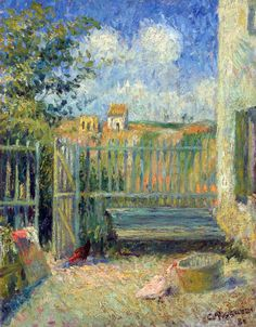 """Camille Pissarro 'La cour de la maison Rondest, Pontoise' ~ """"Blessed are they who see beautiful things in humble places where other people see nothing. Pierre Auguste Renoir, Paul Gauguin, George Seurat, Camille Pissarro Paintings, Gustave Courbet, Edgar Degas, Impressionist Artists, Post Impressionism, St Thomas"""