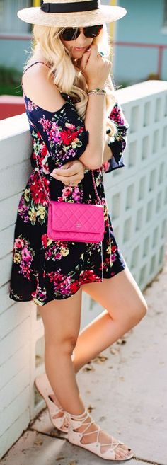 Cold Shoulder Floral Dress Streetstyle by A Little Dash Of Darling