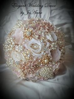 ROSE GOLD BOUQUET, Custom Pink and Gold Brooch Bouquet, Deposit for Rose Gold…