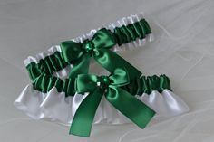 Wedding Garter Set  Hunter Green Garters with by ElegantGarters, $26.00