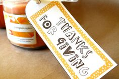 Thanks for Giving Gift Tag - free printable. Would be cute for a teacher appreciation/ Thanksgiving gift.