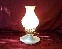 Vintage white milk glass hobnail hurricane table lamp.