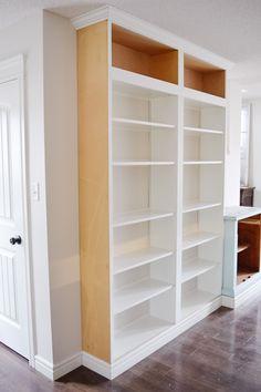 Billy Ikea Hack, Ikea Billy Bookcase Hack, Bookshelves Built In, Bookcase Shelves, Diy Built In Shelves, Kitchen Bookcase, Diy Bookcases, Ikea Shelf Hack, Ikea Shelves