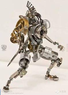 机械初音,旧零件组成的微雕塑