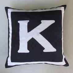 Letter K midnight blue and white monogram pillow cover 18 inch IN STOCK. $33.50, via Etsy.