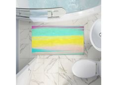 Skies The Limit II Bath Rug  #bathroom #bath #home #decor #watercolor #painted #funky #pink #yellow #aqua