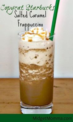 Salted Caramel Frappuccino Starbucks Drink Copycat recipe that is easy to make at home and tastes just perfect! This is my Salted Caramel Frappuccino Starbucks Drink Copycat version, which I am sure you are going to love! Yummy Drinks, Healthy Drinks, Yummy Food, Starbucks Frappuccino, Starbucks Drinks, Starbucks Caramel, Starbucks Coffee, Smoothie Drinks, Vegan Recipes