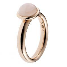CIRO LOVE&PEACE ring/semicircle rose quartz, rose gold-plated