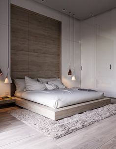 cosy bedroom. white, light brown wood & cream