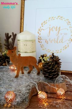 Make a xmas centerpiece with a slice of wood! - Momma's daily life