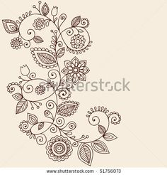 Hand Drawn Abstract Henna Mehndi Vines And Flowers Paisley Style