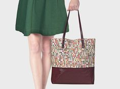 Shopper Raute, aus Stoff und Leder, bordeaux // shopper, bag, red, leather, fabric via DaWanda.com
