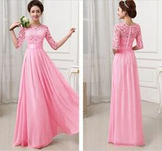 Adorable floor-length chiffon dress with lace top and sleeves. Available in 7 spring colors. Perfect dress for Easter or your Spring dances. Free shipping available on all U.S & International orders.