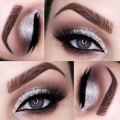 """Toller Weihnachtsparty-Look, Roya Fadai mit in """"Custom"""" Deep Brown . - make-up - Eye-Makeup Prom Makeup For Brown Eyes, Prom Eye Makeup, Sparkly Makeup, Silver Eye Makeup, Prom Makeup Looks, Eyeshadow Makeup, Eyeliner, Silver Eyeshadow Looks, Wedding Makeup"""