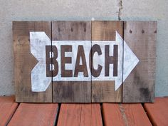 """Reclaimed Wood """"Beach"""" Sign. $60.00, via Etsy."""