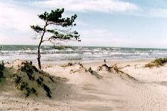 On the coast of the Baltic Sea, 29 km from Klaipeda.  First mentioned in 1161.