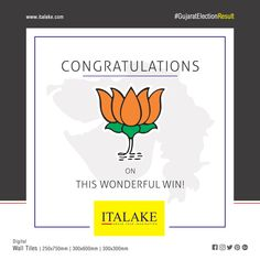 #Congratulation BJP On this Wonderful Win !! #BJP #congo #Wishes #ElectionResults #ElectionResultsOf2017 #GujaratElectionResults #Election #bestwishes #Italakeceramci #Italake #Ceramic #tiles #tilesmanufacturer #manufacturer #walltiles #digitaltiles #digitaltechnology #morderndesign #architecture #housetiles #besttiles #finishedproducts #interiortiles #homedecor #walldecor #morbi #export #tilesexporters House Tiles, Wall Tiles, Festival Flyer, Tile Manufacturers, Good Morning Greetings, Digital Wall, Digital Technology, Congo, Kurti