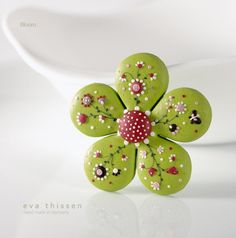 Bloom hand made polymer clay brooch in apple green colour. Made to order. $30.00, via Etsy.