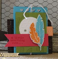 10/$15 Stamp Club Project Four Feathers Treat Holder