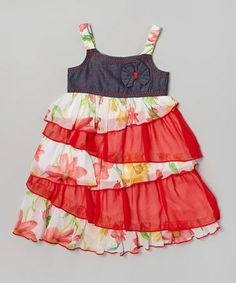 Look what I found on #zulily! Chambray & Red Floral Ruffle Babydoll Dress - Toddler & Girls #zulilyfinds