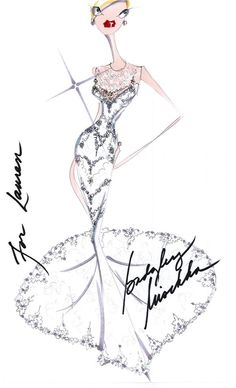 #BadgleyMischka wedding gown sketch for Lauren Conrad