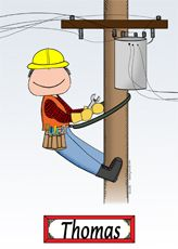 Personalized Cartoon Pictures and Gifts: Personalized Lineman Cartoon Gift - Cowboy Chuck