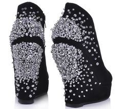 34a55e92cb26e Cute Wedges Shoes For Women Rhinestone Platform Closed Toe Wedge Heel Ankle  Boots Black On Line Women s Shoes