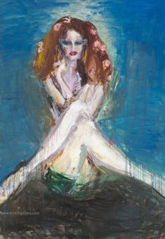 "Artist Olga Gorokhova ""Italian actress"" oil painting on canvas. Italian Actress, Oil Painting On Canvas, Moscow, Contemporary Art, Art Gallery, Flowers, Artist, Blue, Art Museum"