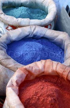 Colorful pigments. Moroccan colors. Colored powders at market. | Stock Photo | Colourbox on Colourbox