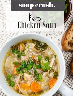 "This keto chicken soup is super simple to make and way too good to be considered ""diet food"".  That said, because of the low carb nature of this soup, it's perfect for a keto diet."