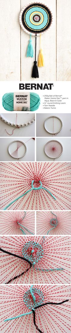 Bernat Circle Loom Weaving | Circle Loom Weaving | Bernat | Yarnspirations | Home Dec | kaleidoscopic project