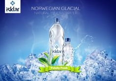 Isklar Mineral Water 2 by on DeviantArt Natural Mineral Water, Drinking Water Bottle, Water Poster, Water Branding, Water Images, Bottle Packaging, Social Media Design, Advertising Campaign, Bottle Design