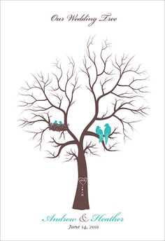 """family tree - love this idea for an Anniversary party """"guest book"""", have the love birds represent the husband and wife, then the baby birds in the nest to represent their children. Ask guests to add their thumbprint leaves to the tree."""