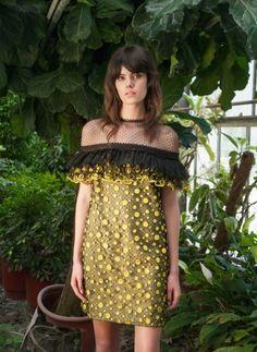 Resort 1775Sort-Ruffle Sleeve, Dot Embroidered Mini Dress, Green & Black
