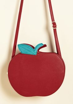 Jaunty Appleseed Bag. Once upon a time, there was a faux-leather purse with a positively precious shape. #red #modcloth
