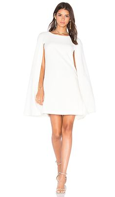 Trina Turk Gizela Cape Dress in Whitewash