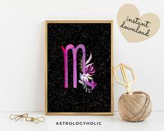 Scorpio Zodiac Printable, Astrology Wall Art, Star Sign, Birthday gift, Floral Print, Constellation, Digital Download Scorpio Zodiac, Astrology Zodiac, Moon Magic, International Paper Sizes, Night Skies, Constellations, Birthday Gifts, Floral Prints, Printables