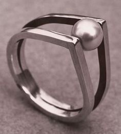 "silver and rolling pearl ring by Renk's, 1954. love this talented lady's quote in Eichler Network  ""They think craftspeople are just cornball. Of course they aren't""!"