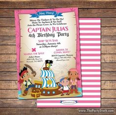 Jake and the Neverland Pirates Invitations: Printable Girls Pirate Birthday Party Invitation, FREE BACK. ~Click to see printables too~ by thepartystork on Etsy https://www.etsy.com/listing/184219659/jake-and-the-neverland-pirates